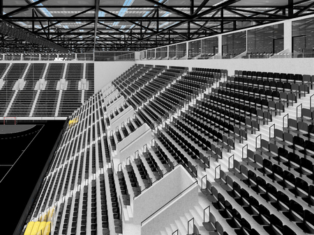 3D render of beautiful sports arena for handball with floodlights and black seats and VIP boxes for ten thousand people