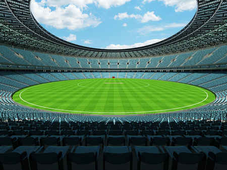 3D render of a beautiful modern round cricket stadium with sky blue seats and VIP boxes for hundred thousand people Banco de Imagens