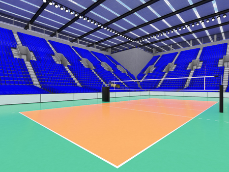 3D render of beautiful sports arena for volleyball with floodlights and  blue seats and VIP boxes for ten thousand people