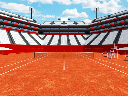 fifteen: 3D render of beutiful modern tennis clay court stadium with white chairs for fifteen thousand fans