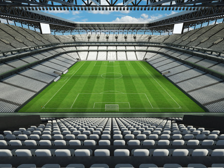 Modern football stadium with white seats for fifty thousand fans - 3d render Stock Photo