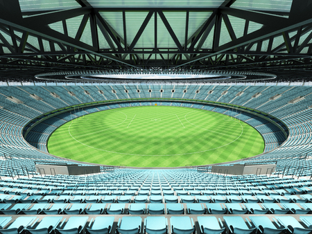 3D render of a round Australian rules football stadium with  sky blue seats and VIP boxes for fifty thousand fans