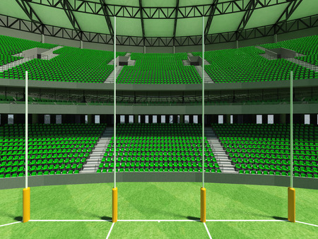 3D render of a round Australian rules football stadium with  green seats and VIP boxes for fifty thousand fans Reklamní fotografie