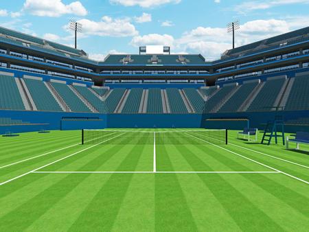 3D render of beautiful large modern tennis grass court stadium for fifteen thousand fans