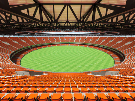 3D render of a round Australian rules football stadium with  orange seats and VIP boxes for fifty thousand fans Stock Photo