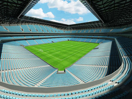 Modern football stadium with sky blue seats for fifty thousand fans - 3d render
