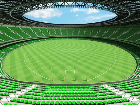 3D render of a round Australian rules football stadium with  green seats and VIP boxes for fifty thousand fans Stock Photo