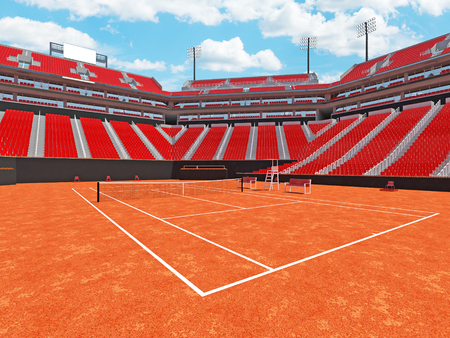 3D render of beutiful modern tennis clay court stadium with red chairs for fifteen thousand fans Stock Photo