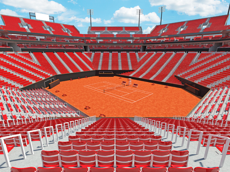 fifteen: 3D render of beutiful modern tennis clay court stadium with red chairs for fifteen thousand fans Stock Photo