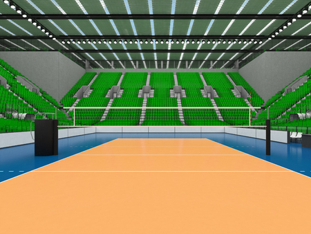 3D render of beautiful sports arena for volleyball with green seats and VIP boxes Stock Photo