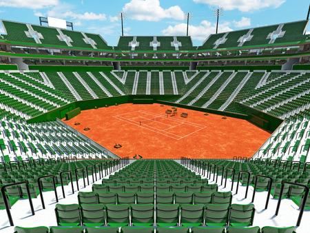Beautiful modern tennis clay court stadium with green seats for fifteen thousand fans