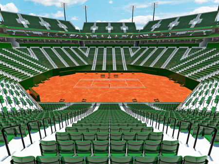 Beautiful modern tennis clay court stadium with green seats for fifteen thousand fans
