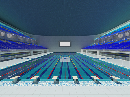 3D render of beautiful modern large empty swimming pool stadium  with blue seats and VIP boxes for fifteen thousand fans. Two tiers of stands, floodlights and blank scoreboard to write in results and names.