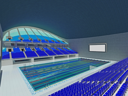 swimming starting block 3d render of beautiful modern large empty olympic swimming pool stadium with - Olympic Swimming Starting Blocks
