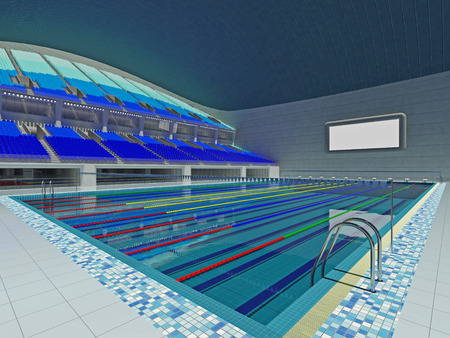 medley: 3D render of beautiful modern large empty swimming pool stadium  with blue seats and VIP boxes for fifteen thousand fans. Two tiers of stands, floodlights and blank scoreboard to write in results and names.
