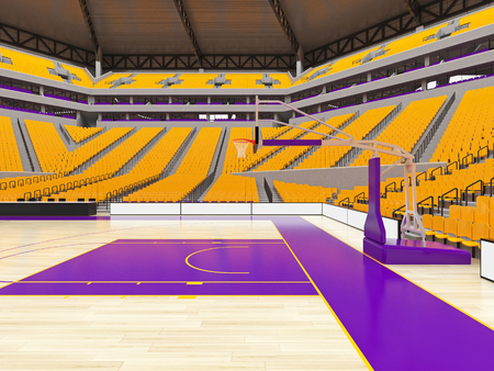 3D render of beautiful sports arena for basketball with floodlights , VIP boxes and yellow seats for twenty thousand fans with two levels of stands Stock Photo