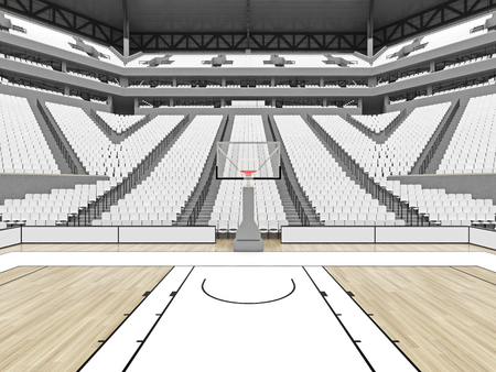 3D render of beautiful sports arena for basketball with floodlights , VIP boxes and white seats for twenty thousand fans with two levels of stands