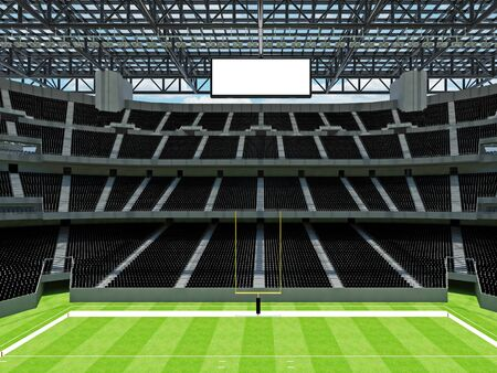 3D render of beautiful modern large empty American football stadium with black seats and VIP boxes for hundred thousand fans. Three tiers of stands, floodlights and blank scoreboard to write in game score and team names.