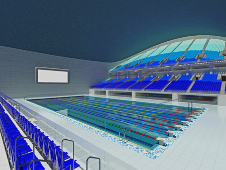 swimming starting block 3d render of beautiful modern large empty olympic swimming pool stadium with