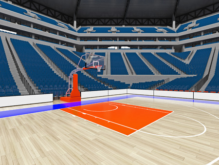 3D render of beautiful sports arena for basketball with floodlights , VIP boxes and  blue seats for twenty thousand fans with two levels of stands