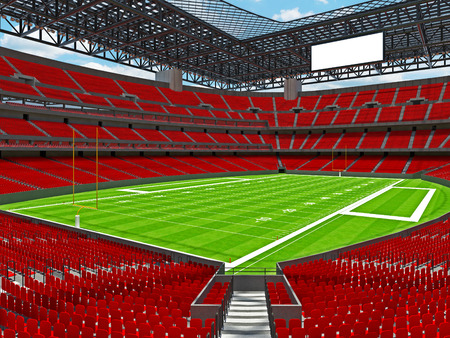 3D render of beautiful modern large empty American football stadium with red seats and VIP boxes for hundred thousand fans. Three tiers of stands, floodlights and blank scoreboard to write in game score and team names. Stock Photo