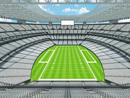 3D render of beautiful modern large empty American football stadium with white seats and VIP boxes for hundred thousand fans. Three tiers of stands, floodlights and blank scoreboard to write in game score and team names.