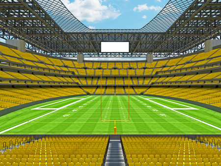 3D render of beautiful modern large empty American football stadium with yellow seats and VIP boxes for hundred thousand fans. Three tiers of stands, floodlights and blank scoreboard to write in game score and team names. Banco de Imagens