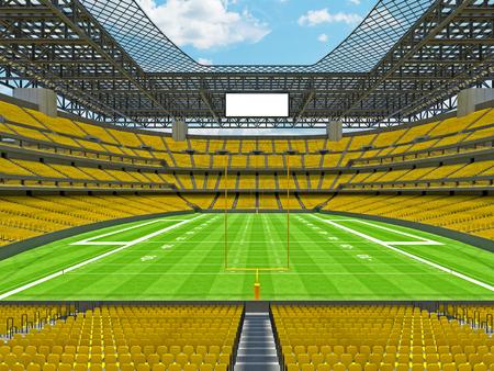 3D rendono di bello moderno grande stadio di football americano vuoto con i sedili gialli e le scatole di VIP per cento mila fan. Tre livelli di cavalletti, proiettori e tabellone segnapunti in bianco da scrivere nel punteggio del gioco e nei nomi delle squadre. Archivio Fotografico - 89470030