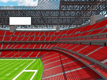 3D render of beautiful modern large empty American football stadium with red seats and VIP boxes for hundred thousand fans. Three tiers of stands, floodlights and blank scoreboard to write in game score and team names. Zdjęcie Seryjne