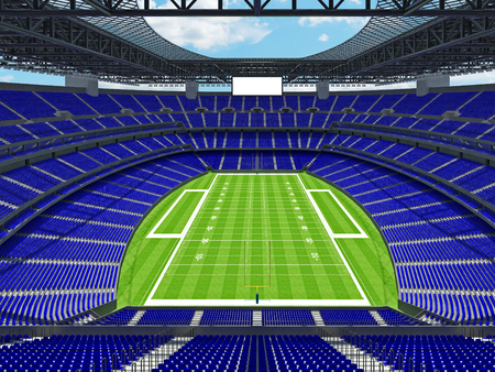 3D render of beautiful modern large empty American football stadium with blue seats and VIP boxes for hundred thousand fans. Three tiers of stands, floodlights and blank scoreboard to write in game score and team names.