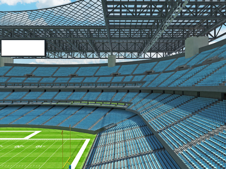 3D render of beautiful modern large empty American football stadium with sky blue seats and VIP boxes for hundred thousand fans. Three tiers of stands, floodlights and blank scoreboard to write in game score and team names.