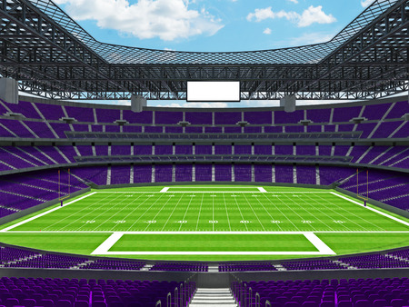 3D render of beautiful modern large empty American football stadium with purple seats and VIP boxes for hundred thousand fans. Three tiers of stands, floodlights and blank scoreboard to write in game score and team names.