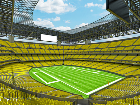 3D render of beautiful modern large empty American football stadium with yellow seats and VIP boxes for hundred thousand fans. Three tiers of stands, floodlights and blank scoreboard to write in game score and team names. Stock Photo