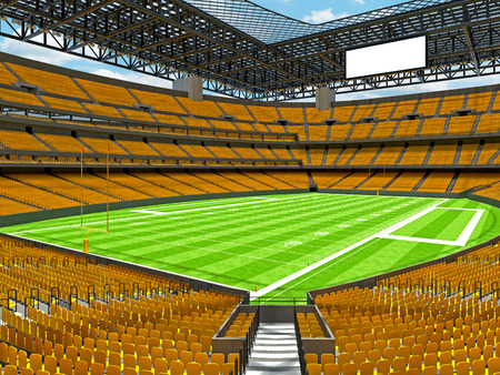 3D render of beautiful modern large empty American football stadium with yellow seats and VIP boxes for hundred thousand fans. Three tiers of stands, floodlights and blank scoreboard to write in game score and team names. Zdjęcie Seryjne