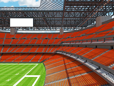 3D render of beautiful modern large empty American football stadium with orange seats and VIP boxes for hundred thousand fans. Three tiers of stands, floodlights and blank scoreboard to write in game score and team names.