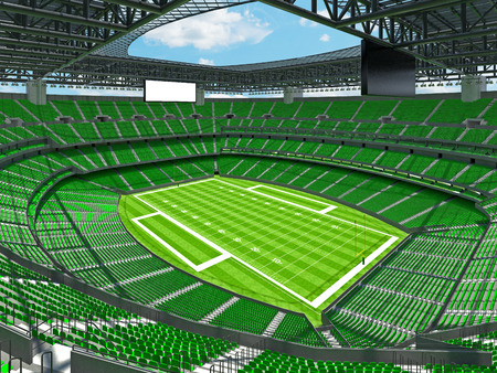 3D render of beautiful modern large empty American football stadium with green seats and VIP boxes for hundred thousand fans. Three tiers of stands, floodlights and blank scoreboard to write in game score and team names. Zdjęcie Seryjne