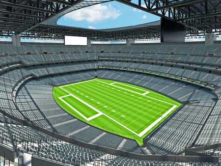3D render of beautiful modern large empty American football stadium with grey seats and VIP boxes for hundred thousand fans. Three tiers of stands, floodlights and blank scoreboard to write in game score and team names.