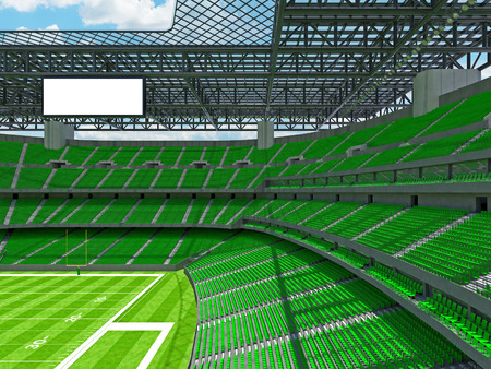 3D render of beautiful modern large empty American football stadium with green seats and VIP boxes for hundred thousand fans. Three tiers of stands, floodlights and blank scoreboard to write in game score and team names. Stock Photo