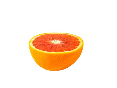 Isolated half red bloody orange. Fruit on white background with copyspace for text. Stok Fotoğraf - 131303931