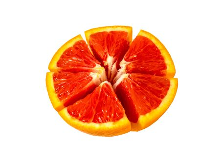Half cutted red bloody orange. Isolated fruit on white background. Copyspace for text. Stok Fotoğraf