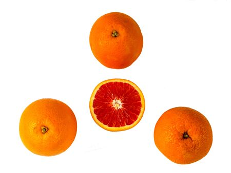 Top view of fresh red bloody oranges. Isolated fruits on white background. Copyspace for text. Stok Fotoğraf