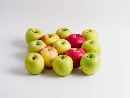 Top view of organic apples isolated on white background. Stok Fotoğraf
