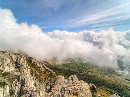 Mountain landscape from the top of Chatyrdag in Crimea.