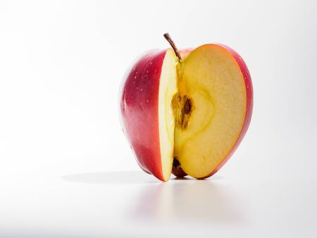 Red apple isolated on white background. Fresh fruit from domestic tree. Copyspace for text. Stok Fotoğraf
