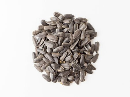 Sunflower seed isolated on white background. Pile of seeds with clipping path. Copyspace for text.