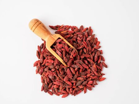 Goji berry isolated on white background. Copyspace for text.