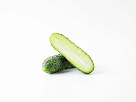 Fresh green cucumber on white background. Copyspace for text. Stok Fotoğraf
