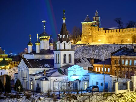 Orthodox church in Nizhny Novgorod. Night view of beautiful cathedral with Kremlin wall on the background.