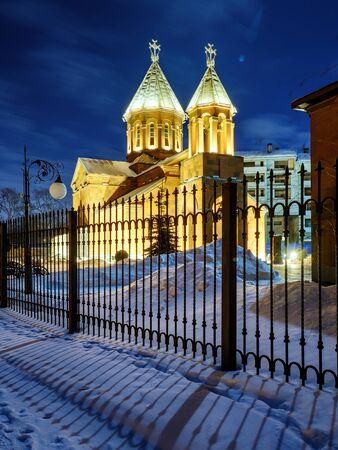 Armenian church in Nizhny Novgorod. Night view of monastery.