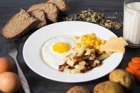 scrambled: Fried eggs with garnish